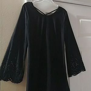 Small she and sky eyelet Bell sleeve dress tunic